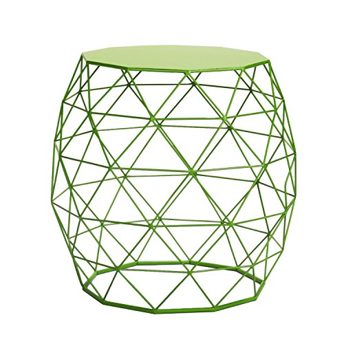 Homebeez Wire Round Iron Metal Stool Side Table/Coffee Table/Sofa Table (Green) ()