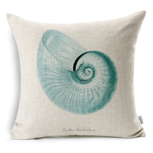 Kingla Home Coastal Theme Blue Conch Shell Throw Pillow Case 18 X 18 Inch Cotton Linen Square Cushion Covers for Sofa (Blue Shell Conch)