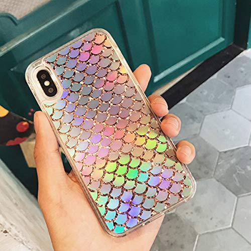 Holographic Mermaid iPhone X Case,iPhone Xs case, Transparent Heavy Duty Hybrid Quicksand Color Changing Phone Cover for iPhone X/iPhone Xs 5.8 inch