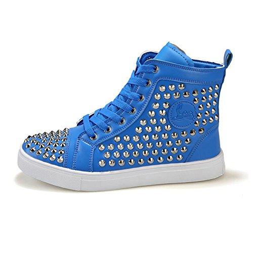 Kivors Casual Mens Rivetto High-top Moda Hip-hop Scarpe Stringate Anti-skid Sneaker Blu