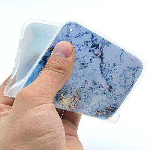 Hülle Cover iPhone 7 Plus, IJIA Ultra Dünnen Marble Natürlich Blau Magma Feuer Muster Weich TPU und Harte PC (2 in 1) Silikon Hülle Handyhüllen Schutzhülle Handyhülle Schale Case Tasche für Apple iPho