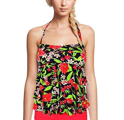 Island Escape Red/Black Tiered Bandini Tankini Top Swimwear 6