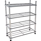 VUERAY 12-Pair Floor Shoe Stand 4 Tier Metal Shoe Rack Organizer Removable Stainless Steel Rack