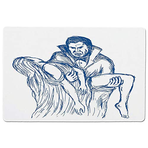 SCOCICI Gaming Mouse Pad with Stitched Edges,Count Dracula in Cape Carrying His Prey Victim Woman Sketchy Halloween Artwork,Non-Slip Rubber Base Mousepad for Laptop,Computer & PC 23.6x15.7X0.1 inch