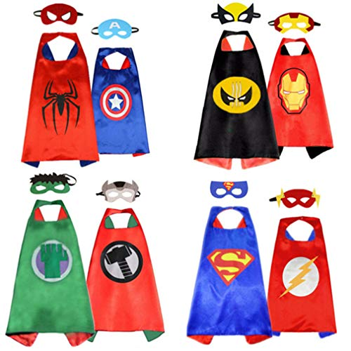 AnRio Superhero Capes for Kids, Double-Sides Satin Capes Dress up Costumes (4 Pack, 8 Mask)