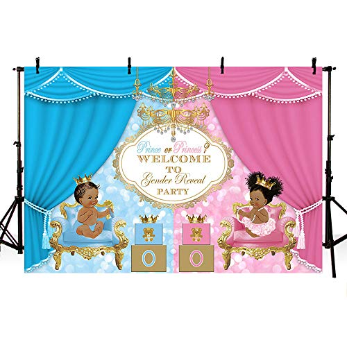 MEHOFOTO Prince or Princess Royal Gender Reveal Party Photo Background Unisex Baby Shower Pink or Blue Curtain Bokeh Gift Decoration Backdrops Banner for Photography 7x5ft