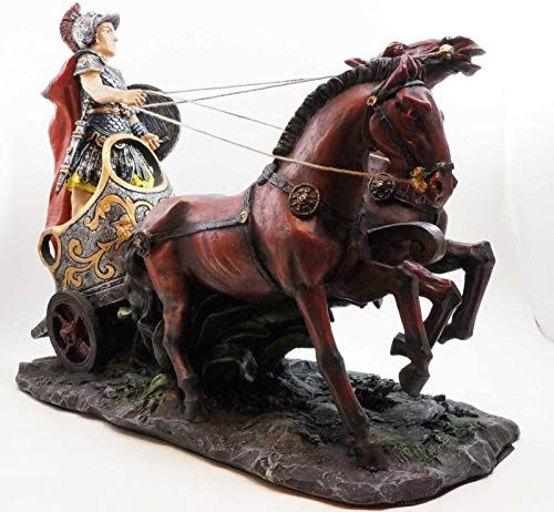 Figurine Large Roman General On War Horse Chariot Riding to Battle Statue 14