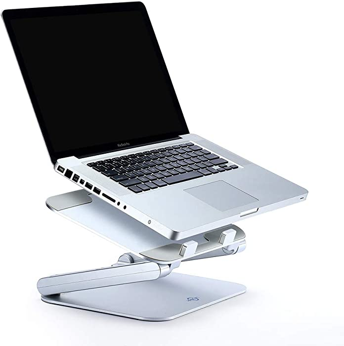 Laptop Stand,KABCON Aluminum Adjustable Stationary Holder for Up to 17-in Notebook,Compatible with Apple Mac Macbook Air/Pro,Surface Laptop/Book,HP,Lenovo,Samsung,Dell,Mount for Home,Countertop-Silver