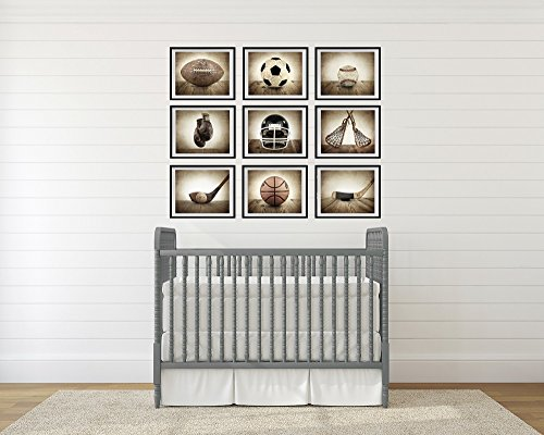 Saint & Sailor Studios Sports Themed Photography Prints Artwork 9 Set | Handmade, Vintage & Unique Home Décor Collage Pictures | For Nursery, Living Room, Study Room, Office, Man Cave, Walls & More