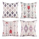 Modern Simple Geometric Style Soft Linen Burlap Square Throw...