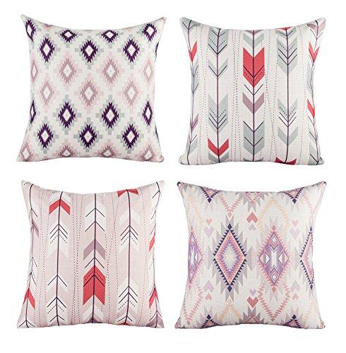BLUETTEK Modern Simple Geometric Style Soft Linen Burlap Squ