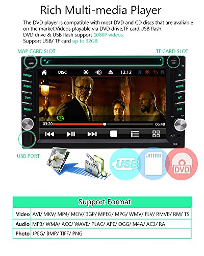 FREE Backup Camera Included + NEW Design Double Din Car Stereo DVD Player GPS Navigation Radio Bluetooth 2 Din Capacitive Touch Screen support USD SD 1080P SWC Car Logo Multi Language Remote Control by EinCar (Image #5)