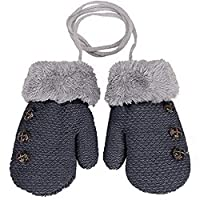 Arpoador Warm Gloves Kids Bafrom Boys Girls Toddler Knitted Mittens Leaf Gloves (Dark grey)