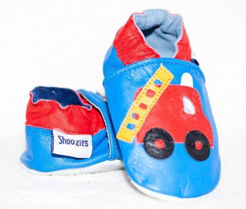 Cuero suave zapatos de bebé Fire Engine Talla:0-6 meses