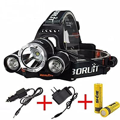 Headlamp LED 4 Modes Headlight Battery Powered Helmet Light for Camping Running Hiking and Reading 3 AAA Batteries 12000 Lumen Torch USB 18650