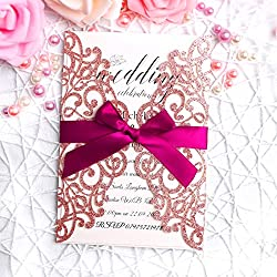 FEIYI 25 Pieces Laser Cut Wedding Invitations Cards With Burgundy Color Ribbon For Birthday Baby Shower Wedding Rehearsal Dinner Invite(Rose Gold Glitter)