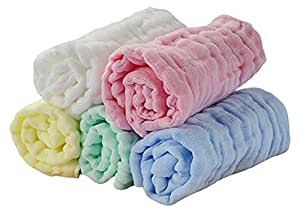 Baby Cotton Muslin Washcloths,6 Layer Quilted Ultra Absorbent Burp Cloths,Natural Newborn Wipes,Reusable Eco-Friendly,Soft Pure Gentle for Sensitive Skin,Baby Registry Shower Gift,5 Pack 10x10