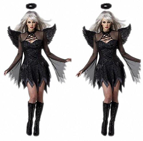 Women Sexy Dark Angel Costume Adult Halloween Cosplay Party Raven Black Fallen Angel Fancy Dress With Halo & (Dark Angel Halloween Costume Makeup)