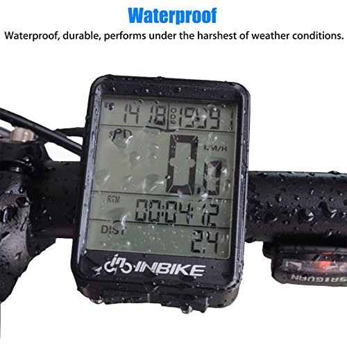 Waterproof Design 11 Function Day/Night Bicycle Computer LCD Backlight Multifunction Digital Sport Cycling Wireless Sensor Speedometer Fits All Bikes Easy Install and Operate BK141 by iGrove (Image #1)