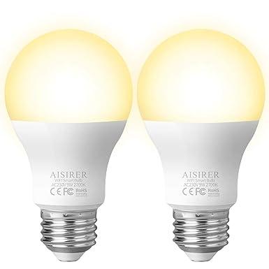 Smart WLAN LED Lampe Glühbirne AISIRER E27 2700K Birne mit Warmweiß Licht Wifi Glühbirne 806LM,steuerbar via App dimmbare,kom