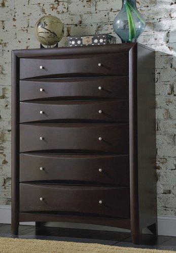 Coaster 200415 Phoenix Chest with Six Drawers Hardwood Solids and Wood Veneers in Deep - Tall Drawer Six Dresser