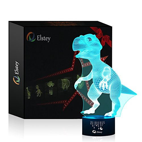Dinosaur 3D Night Light Touch Table Desk Lamp, Elsley 7 Colors 3D Optical Illusion Lights with Acrylic Flat & ABS Base & USB Cabler for Christmas Gift