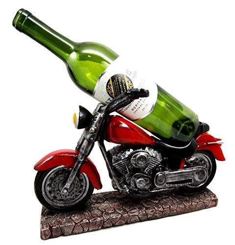 "Atlantic Collectibles Vintage Red Road Hog Chopper Motorbike Wine Holder Figurine 13.25"" Long"