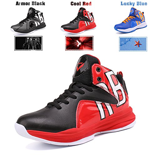 WETIKE Basketball Shoes Kids High Top Fashion Sneaker Athletic Sneakers For Unisex Youth (Little Kid/Big Kid) Cool Red,6.5M US Big Kid