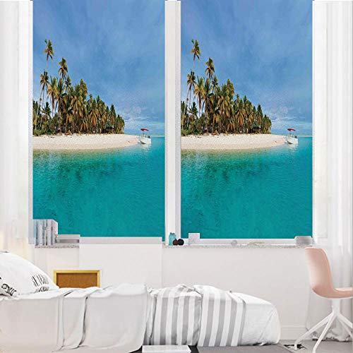 (Island 3D No Glue Static Decorative Privacy Window Films, Stunning Tropical Island Blue Sky Over Ocean Cook Islands Exotic Getaway Scenic,17.7