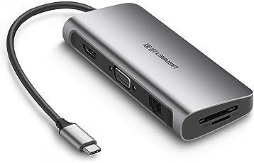 UGREEN Hub USB C 3.1 (Thunderbolt 3) a HDMI 4K 60Hz, VGA 1080P, Gigabit Ethernet, 3 Puertos USB 3.0, 60W Power Delivery, Lector Tarjetas SD TF para Macbook Pro, iMac 2017, Macbook, Dell XPS 13 15, etc.