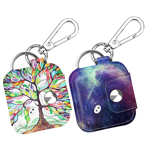 [2 Pack] Fintie Tile Mate/Tile Sport/Tile Style Case with Carabiner Keychain, Anti-scratch Vegan Leather Protective Skin Cover for Tile Mate & Tile Pro Series Item Tracker, Love Tree + (Tile Cover)