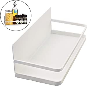 KOOTANS Magnetic Fridge Spice Rack Single Tier Spice Storage Shelf Organizer, Easy to Install on Side of Refrigerator, Hold Spices Jars Oils Small Things (White, Single Tier Spice Rack)