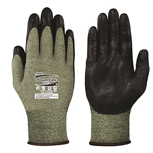 Ansell PowerFlex 80-813 DuPont Kevlar Special Purpose Glove with Knitwrist, Flame/Cut Resistance, (Pack of 12 Pair)