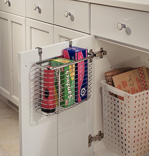 - InterDesign Axis Over the Cabinet Kitchen Storage Organizer Basket for Aluminum Foil, Sandwich Bags, Cleaning Supplies - Medium, Chrome