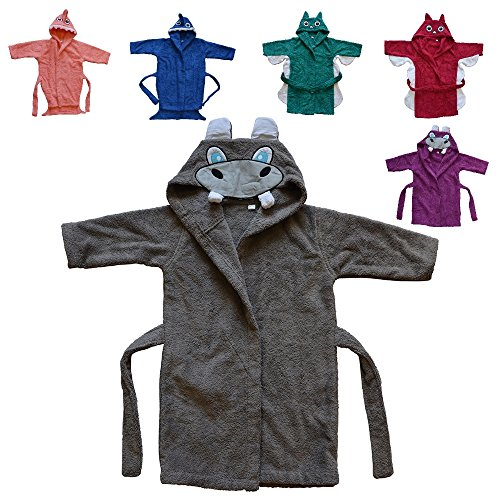 DAS ORIGINAL BOMIO® Baby Bademantel mit Kapuze, Oekotex Standard 100, Motiv Nilpferd grau, Größe 98/104, weitere verschiedene Tier-Designs, verschiedene Größen