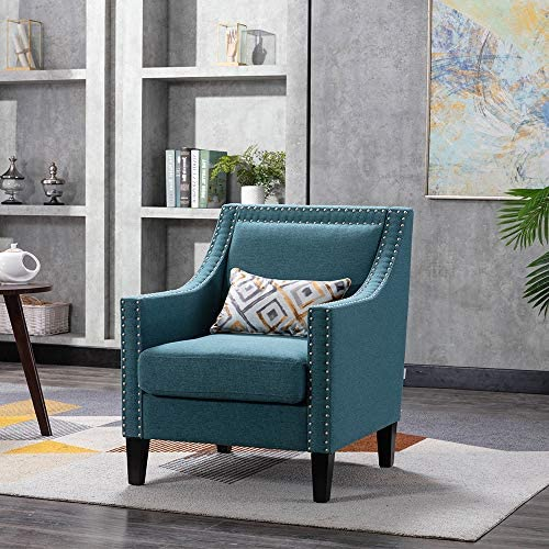 Upholstered Accent Chair Mid Century Modern Fabric Arm Chair Living Room Decoration Chair