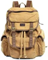 Serbags Vintage Canvas Leather Travel Rucksack Military Backpack - Light Brown