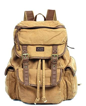 5c49f57f928a Image Unavailable. Image not available for. Color  Serbags Vintage Canvas  Leather Travel Rucksack Military ...