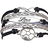 Infinity Collection Soccer Gifts- Soccer Bracelet, Soccer Jewelry, Adjustable Soccer Charm Bracelet- Perfect Soccer Gifts for Girls