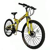 "Xspec 26"" 21 Speed Folding Mountain Bike Bicycle Trail Commuter Shimano Yellow"