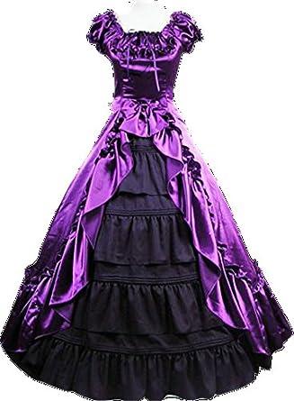 【セクシー 妖婦 ミレディ 夫人 風 ロングドレス】紫 黒 豪華 フリル ロング丈 ドレス