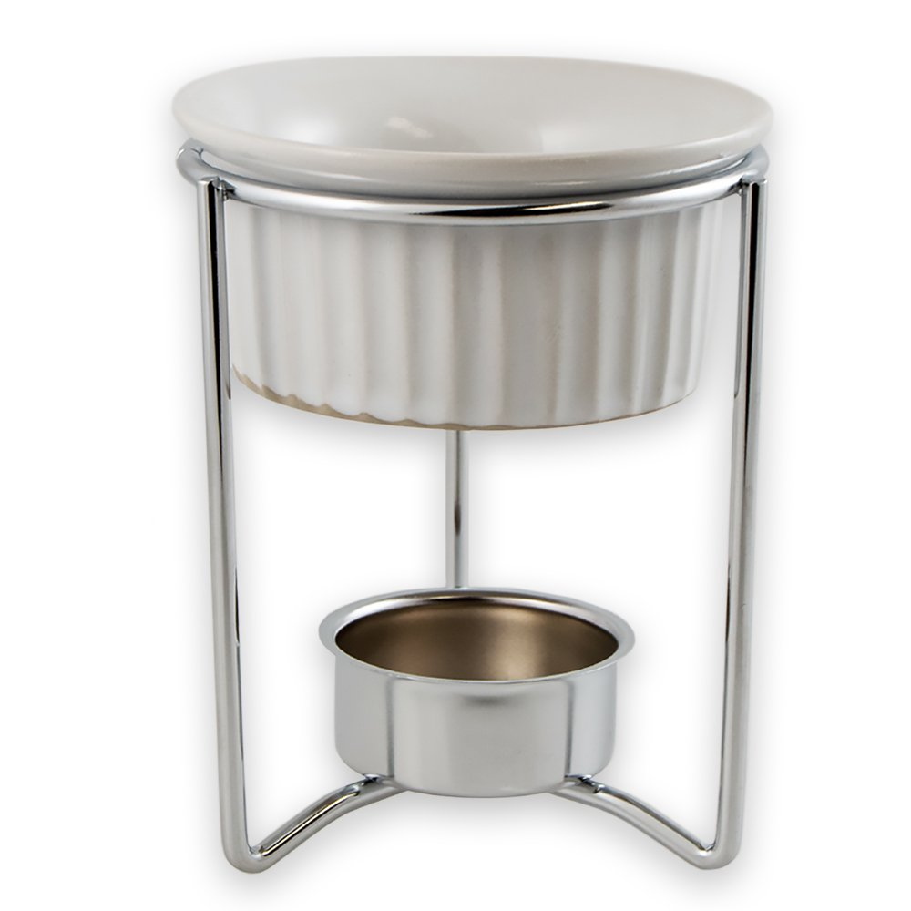 Set of 4 - TrueCraftware White Ceramic Fondue or Butter Warmer Sets with Chrome Plated Steel Stands