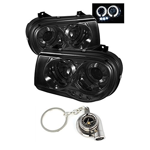 300c Halo Led Projector Headlights - Chrysler 300C Projector Headlights LED Halo LED Chrome Housing With Smoke Lens + Free Gift Key Chain Spinning Turbo Bearing