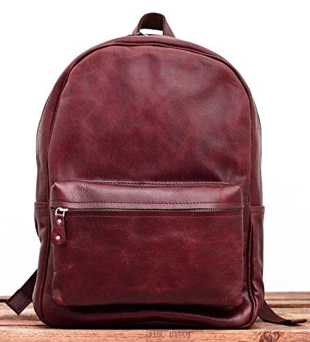 LE MARIOL Brun Bolso mochila de cuero satchel escuela marrón medio PAUL MARIUS