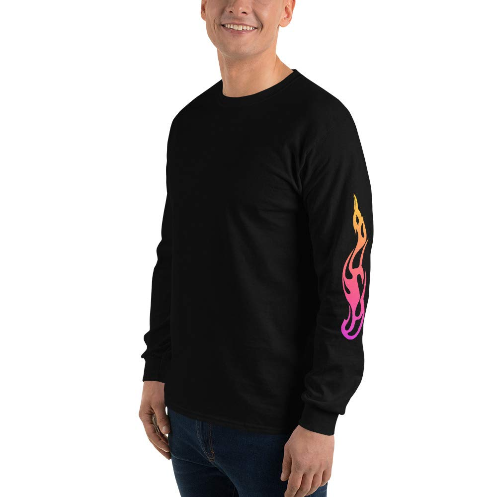 Neon Flames Fashion Graphic Long Sleeve T-Shirt Done by Dom