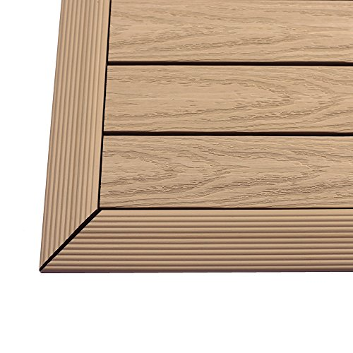 NewTechWood US-QD-of-ZX-MP 1/6 x 1 ft. Quick Composite Deck Tile Outside Corner Trim in Canadian Maple (2-Pieces/Box) by NewTechWood