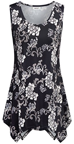 BEPEI Flowy Floral Tops for Women Plus, Plus Size Tank Tops Retro Chinese Traditional Cheongsam Designer Style Blouse Lovely Cute Tunic Tank Gorgeous Ladies Misses XXL Black Brown (Retro Designer Clothing)