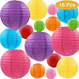 """Runbod 16 Packs Multicolor Paper Lanterns with Assorted Sizes ( 4"""", 6"""", 8"""", 10"""") Chinese/Japanese Paper Hanging Lanterns Ball Decorations for Party, Wedding and Other Celebration Decorative"""
