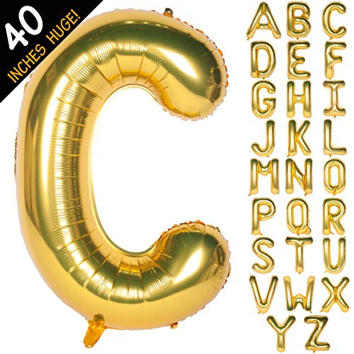 Letter Balloons 40 Inch Giant Jumbo Helium Foil Mylar for Party Decorations Gold