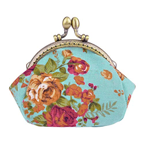 Floral Coin Purse - Oyachic Printed Coin Purse Vintage Pouch Buckle Clutch Bag Kiss-lock Change Purse Floral Clasp Closure Wallets For Women Girl